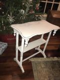 Antique side table painted Annie Sloan Old white