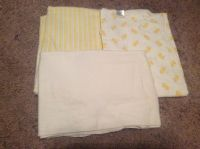 Set of 3 light weight blankets - Yellow stripe, white with yellow ducks, and white.
