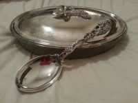 Glass cassarole dish with silverplated lid and spoon