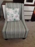 Stripped Accent Chair by Kroehler-Grey, White, Green and Black