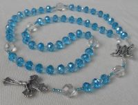 Bride Rosary or Quinceanera Czech Crystal Beads Aqua and Clear Special Middle Medal and Crucifix...