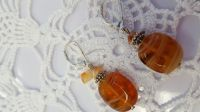 Orange & Cream swirl Glass Earrings