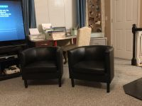 Faux leather accent chairs