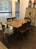 Table with built in leaf & 6 chairs