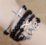 Love and cross leather type adjustable clasp bracelet NEW!
