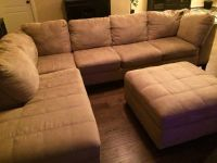 Large sectional couch w chaise lounge and ottoman