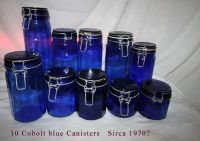 10 cobolt blue canisters from mid 50,s