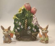 New! Ceramic Candle Holder Flower Basket with 2 Bunny Figurines