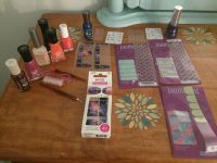 Nail lots at least 4 full sets of jamberry nail wraps. Asst embellishments/ 8 dif polishes/few never used. $10 all