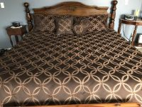 King size comforter with shams, pillows and bed skirt