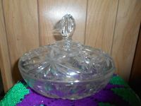 Large Beautiful Cut Glass Crystal Lidded Bowl! Starbursts and Flower Design deeply cut in glass!...