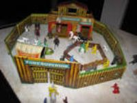 Tin Litho Fort Superior Set, Pony Express, Wagon