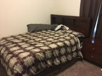 Queen size mattress, bed frame, and night stand
