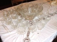 Vintage Large Anchor Hocking Glass Punch Bowl Set, 25 Cups,12 Plates a