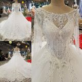 Everly's Princess Appliqué Long Sleeve Wedding Gown With 3 Foot Train