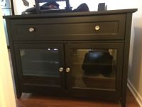 Black TV Stand with Glass Doors and Storage Drawer
