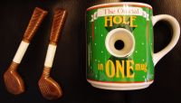 "Golfers ""official"" Hole in One Coffee Mug and Club stirers"