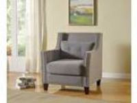 Cibil collection gray linen fabric upholstered accent chair with