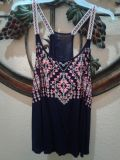 Super CUTE light weight tank!! Very colorful Navy Blue and Tangerine size L $2