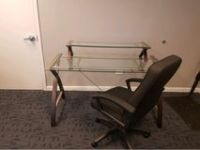 Glass Office Desk/Table & Office Chair. 4 6 x 2 4