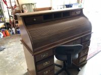 Solid Wood Roll Top Desk With Office Chair