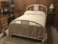 Antique Metal Double Bed Frame, Mattress & Box Springs and all Linens
