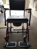 Portable potty and shower chair with wheels
