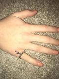James Avery Twisted Wire Ring w/ St. Teresa Cross Charm