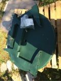 Green patio table hole for umbrella (no included) only table new never used still in plastic