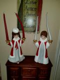 Xmas angels 15 inchs tall 22 with candles. Candles bent from heat in attic. You can always buy more.