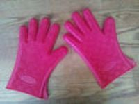 Pair RED Silicone BQ Gloves Kitchen Oven Mitts Non Stick