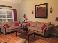 Sofa, love seat, coffee and matching two end tables. Very good condition.
