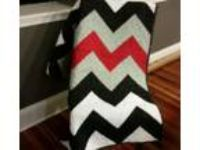 Red, black, white, and gray chevron design handmade quilt