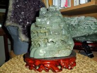 Exceptional Antique Chinese Hand-Crafted Carved Hetian Jade Statue & Landscape Pine Tree on Base