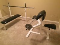 Promaxima Olympic Bench, Scott Curl Bench, Plate Stand, Cambered Bar, Plates