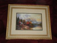 """Framed Thomas Kincaid print """"The End of a Perfect Day III"""""""
