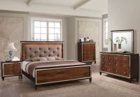 Claire Chocolate Hardwood Solids 5/0 Queen Lighted Bed FREE DELIVERY
