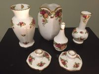 Old Country Rose by Royal Albert Vase and Candle Set