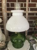 Pair of Vintage Beautiful Green Oil Lamps.. one has a cracked thingy that can be easily replaced
