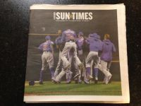 Chicago Cubs World Series Champions Chicago Sun Times 11/2 full newspaper