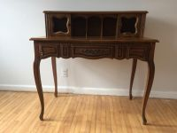 French Provincial Secretary Desk With Faux Leather Top