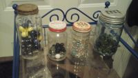 Antique mason jars with marbles