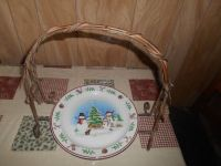 Lg Christmas Metal Plate State Trimmed w/ Holly Leaves. Does not include plate (for pictures on...