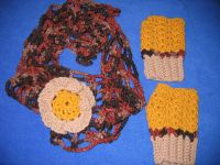 Hand Crocheted Infinity Scarf with Gloves