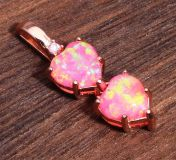 NEW - Pink Fire Opal Hearts Rose Gold Filled Pendant (Includes a chain)