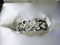 **925 Sterling Silver CZ Diamond Infinity Heart Ring (Size: 6)**