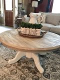 Round Solid Wood Pedestal Coffee Table