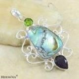New - Large Abalone Shell, Amethyst and Peridot Pendant (Includes a chain)