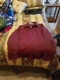 Maroon and Metallic Striped Fitted Collared Shirt