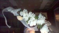 WHITE FLOWERED HAND CRAFTED CINNAMON BROOMS AFRICAN AMERICAN.BRIDAL I
